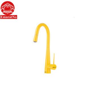 شیر ظرفشویی شاوری مدل ایتن زرد شودر