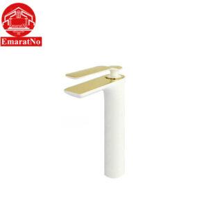 شیر روشویی پایه بلند مدل ویولت سفید طلایی راسان