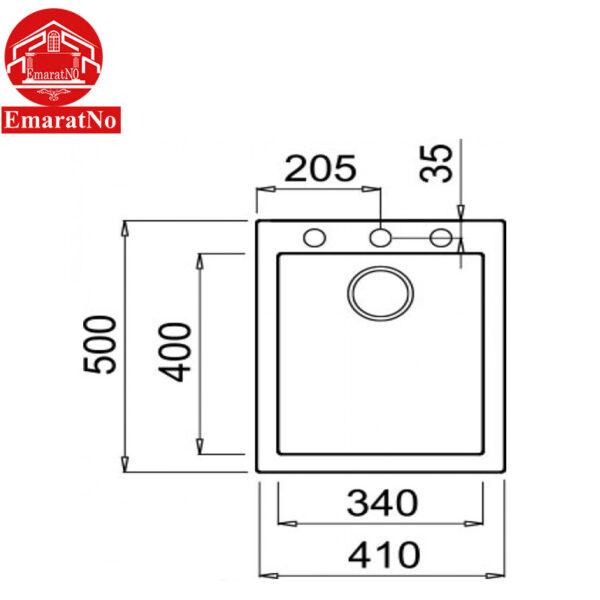 سینک ظرفشویی گرانیتی مدل QUADRA 100 INSET الیچی
