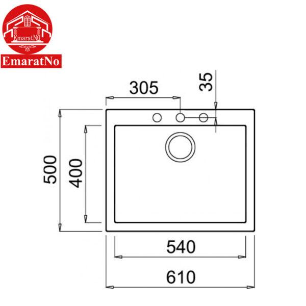 سینک ظرفشویی گرانیتی مدل QUADRA 110 INSET الیچی