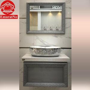 دستشویی کابینتی ملیکا نقره ای 80 سانتی کاترین